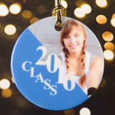 Graduation Personalized Photo Porcelain Ornament, Silver