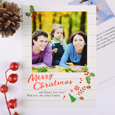Rustic Floral Personalized Photo Christmas Card
