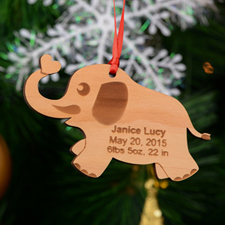 Elephant with Heart Personalized Engraved Wooden Ornament