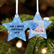 Snowflake Personalized Photo Acrylic Star Ornament