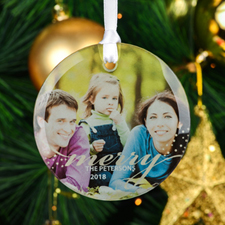 Merry Personalized Photo Round Glass Ornament