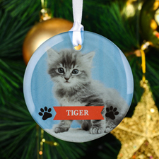 Paws Personalized Photo Round Glass Ornament