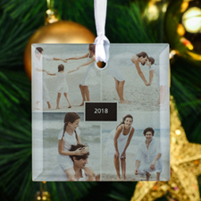 Personalized Four Collage Photo Square Glass Ornament
