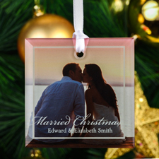 Married Christmas Personalized Photo Square Glass Ornament