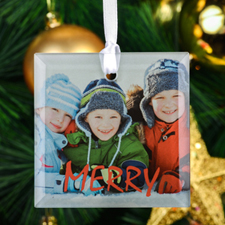 Red Merry Personalized Photo Square Glass Ornament