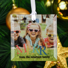 Merry Personalized Photo Square Glass Ornament
