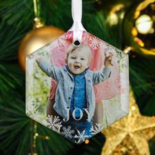 Joy Snowflake Personalized Photo Hexagon Glass Ornament