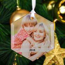 Love Personalized Photo Hexagon Glass Ornament