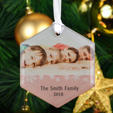 Snowflake Personalized Photo Hexagon Glass Ornament