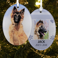 Memorial Dog Personalized Photo Acrylic Oval Ornament