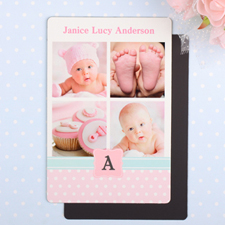 Collage Personalized Photo Girl Birth Announcement Magnet 4x6 Large