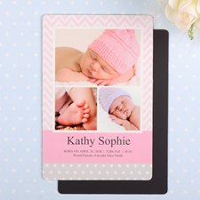 Chevron Personalized Girl Birth Announcement Photo Magnet 4x6 Large
