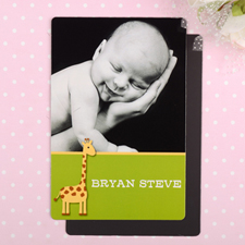 Giraffe Personalized Birth Announcement Photo Magnet 4x6 Large