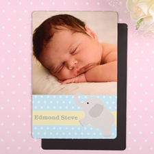 Elephant Personalized Boy Birth Announcement Photo Magnet 4x6 Large
