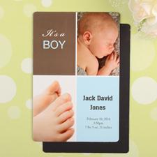 Boy Personalized Birth Announcement Photo Magnet 4x6 Large