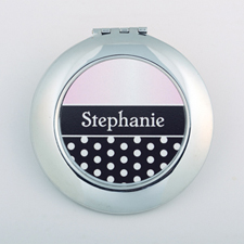 Polka Dot Personalized Round Compact Mirror