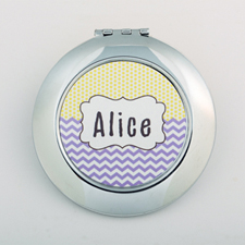 Chevron Dot Personalized Round Compact Mirror