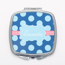 Blue Polka Dots Personalized Square Compact Mirror