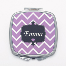 Purple Chevron Personalized Square Compact Mirror