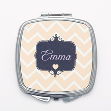 Carol Chevron Personalized Square Compact Mirror