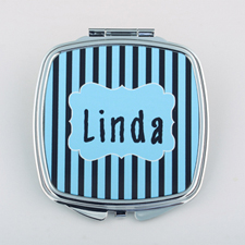 Black Aqua Stripe Personalized Square Compact Mirror