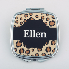 Leopard Personalized Square Compact Mirror