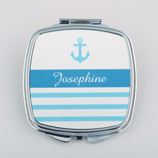 Anchor Stripe Personalized Square Compact Mirror