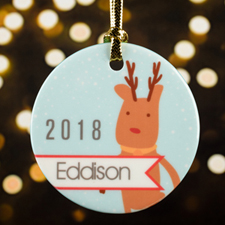 Personalized Reindeer Porcelain Round Ornament