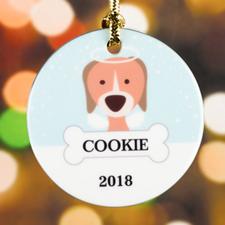 Personalized Pet Dog Porcelain Round Ornament
