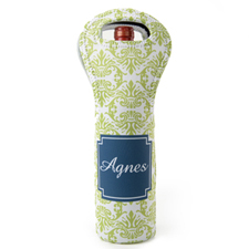 Lime Blue Vintage Personalized Neoprene Wine Tote Bag