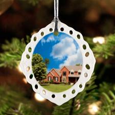 Personalized Photo Oval Filigree Portrait Ceramic Ornament (Custom 1 Side)