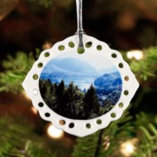 Personalized Photo Oval Filigree Landscape Ceramic Ornament (Custom 1 Side)