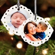 Personalized Photo Oval Filigree Landscape Ceramic Ornament (Custom 2 Side)