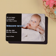 Personalized First Boy Black Birth Announcement Photo Magnet
