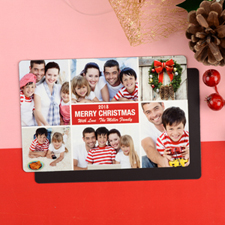 Merry Personalized Photo Christmas Magnet 4x6 Large