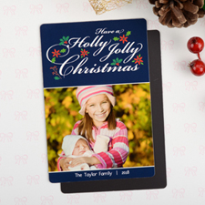 Holly Personalized Christmas Photo Magnet 4x6 Large