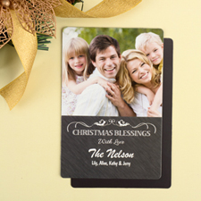 Blessing Personalized Christmas Photo Magnet 4x6 Large