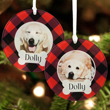Puppy Dog Personalized Photo Acrylic Round Ornament