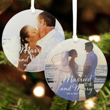 Script Married And Merry Personalized Photo Acrylic Round Ornament