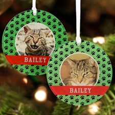 Cat Pet Personalized Photo Acrylic Round Ornament