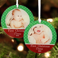 First Christmas Personalized Photo Acrylic Round Ornament