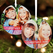 Red Christmas Personalized Photo Acrylic Round Ornament