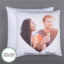 Personalized Heart Photo Pillow (White Back) 20X20  Cushion (No Insert)
