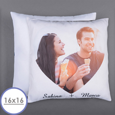 Personalized Heart Photo Pillow (White Back) 16