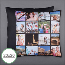 Instagram Black Personalized 16 Collage Photo Pillow 20X20  Cushion (No Insert)
