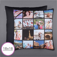Instagram Black Personalized 16 Collage Photo Pillow 18X18  Cushion (No Insert)