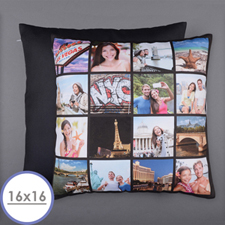 Instagram Black Personalized 16 Collage Photo Pillow 16