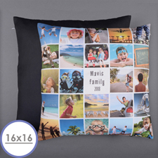 Instagram White Personalized 24 Collage Photo Pillow 16