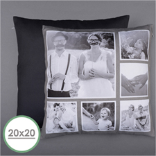Rustic Instagram Personalized Six Collage Photo Pillow 20X20  Cushion (No Insert)