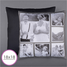 Rustic Instagram Personalized Six Collage Photo Pillow 18X18  Cushion (No Insert)